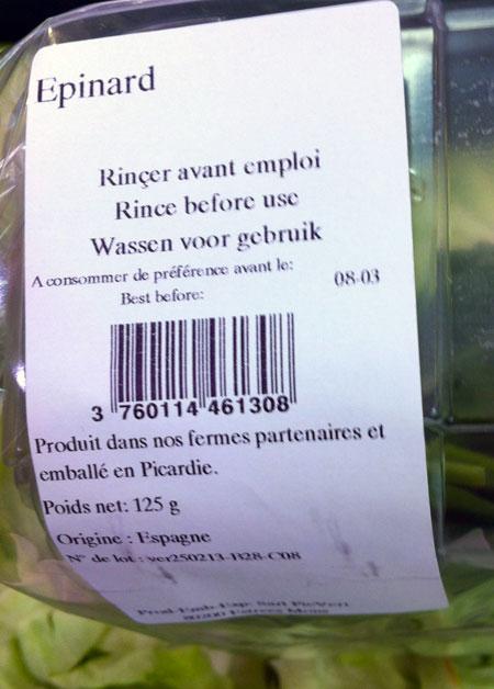etiquette épinards